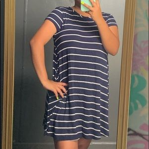 Dresses & Skirts - Simple striped blue dress